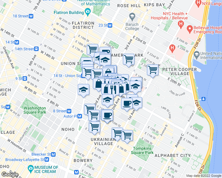 map of restaurants, bars, coffee shops, grocery stores, and more near 234 East 14th Street in New York