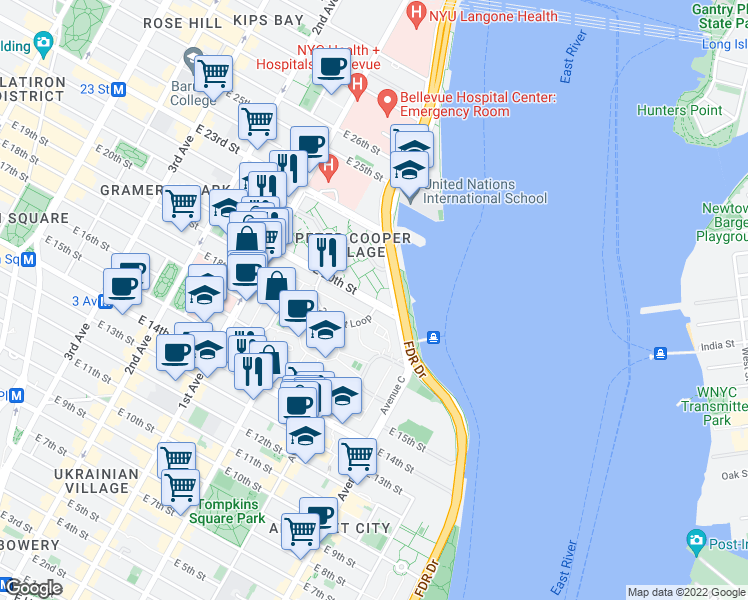 map of restaurants, bars, coffee shops, grocery stores, and more near 2-24 20th Street Loop in New York