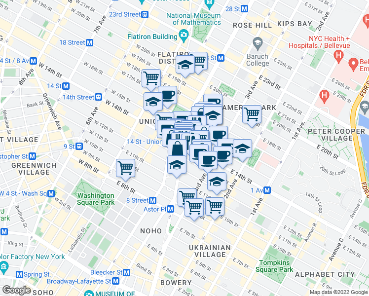 map of restaurants, bars, coffee shops, grocery stores, and more near 120 East 14th Street in New York