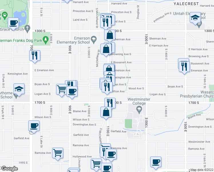 map of restaurants, bars, coffee shops, grocery stores, and more near 1568 1100 East in Salt Lake City