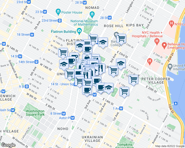 map of restaurants, bars, coffee shops, grocery stores, and more near 136 East 16th Street in New York