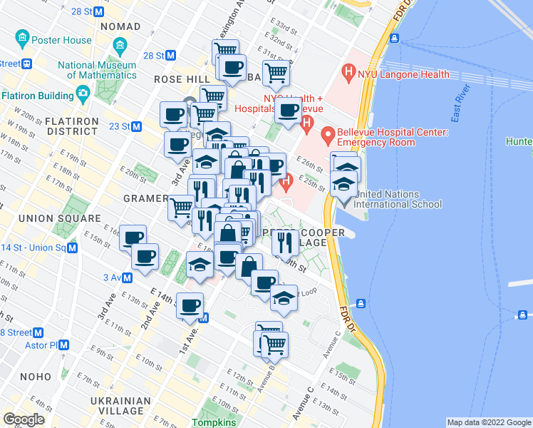 map of restaurants, bars, coffee shops, grocery stores, and more near 371 1st Avenue in New York