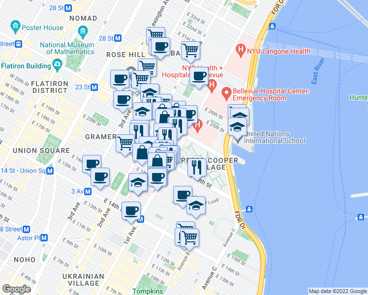 map of restaurants, bars, coffee shops, grocery stores, and more near 370 1st Avenue in New York