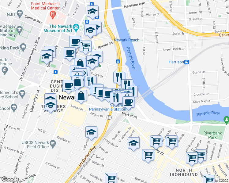 map of restaurants, bars, coffee shops, grocery stores, and more near 1 Newark Center in Newark
