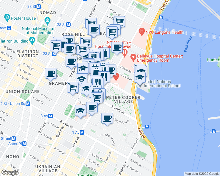 map of restaurants, bars, coffee shops, grocery stores, and more near 390 1st Avenue in New York
