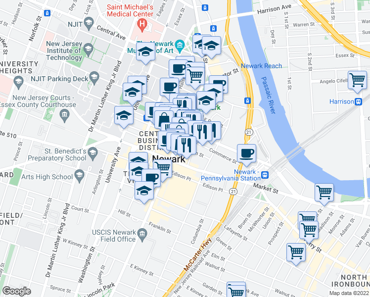 map of restaurants, bars, coffee shops, grocery stores, and more near in Newark