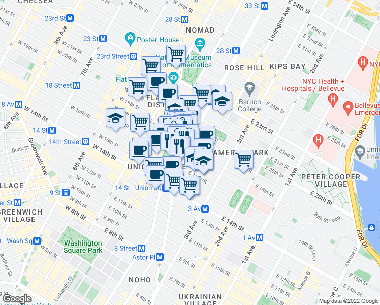 map of restaurants, bars, coffee shops, grocery stores, and more near 200 Park Avenue South in New York