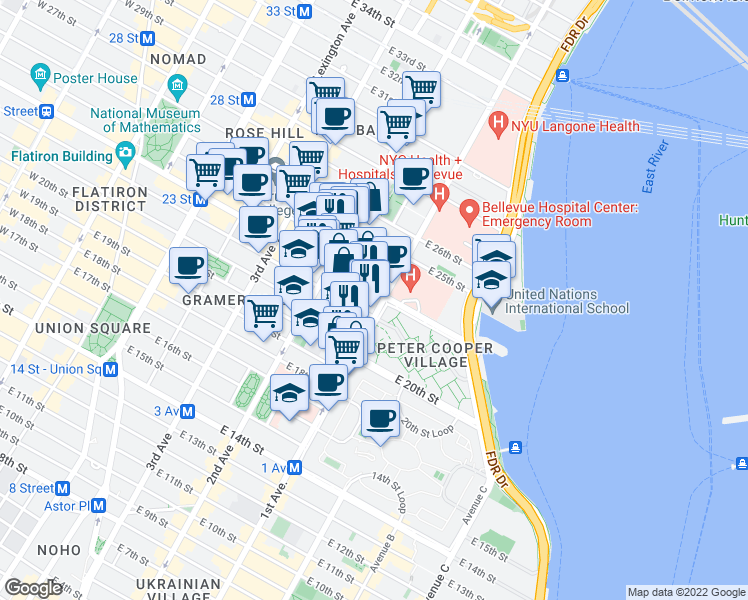 map of restaurants, bars, coffee shops, grocery stores, and more near 401 1st Avenue in New York