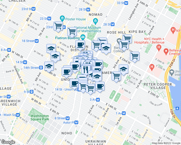 map of restaurants, bars, coffee shops, grocery stores, and more near 215 Park Avenue South in New York
