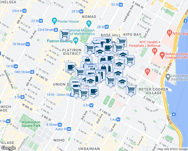map of restaurants, bars, coffee shops, grocery stores, and more near 129 East 19th Street in New York