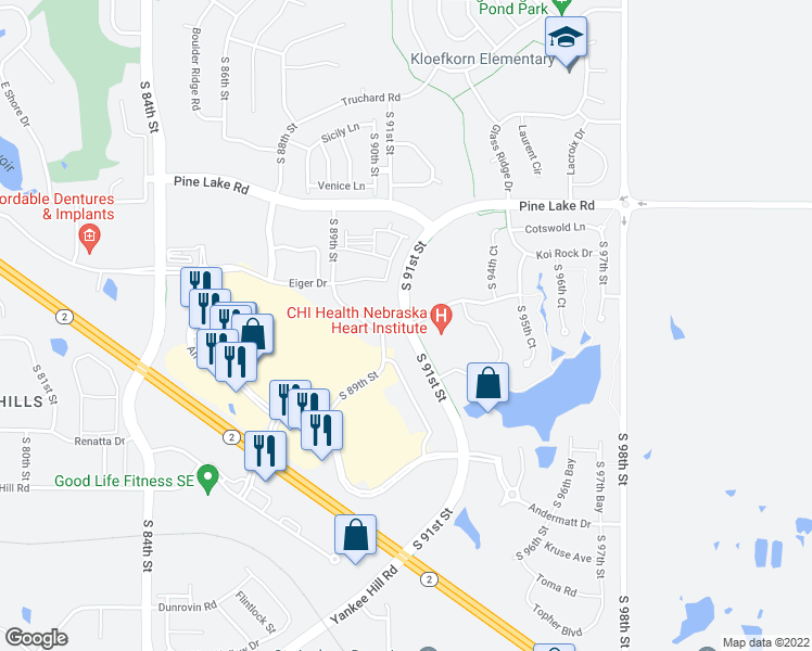 map of restaurants, bars, coffee shops, grocery stores, and more near Billy Wolff Trail in Lincoln