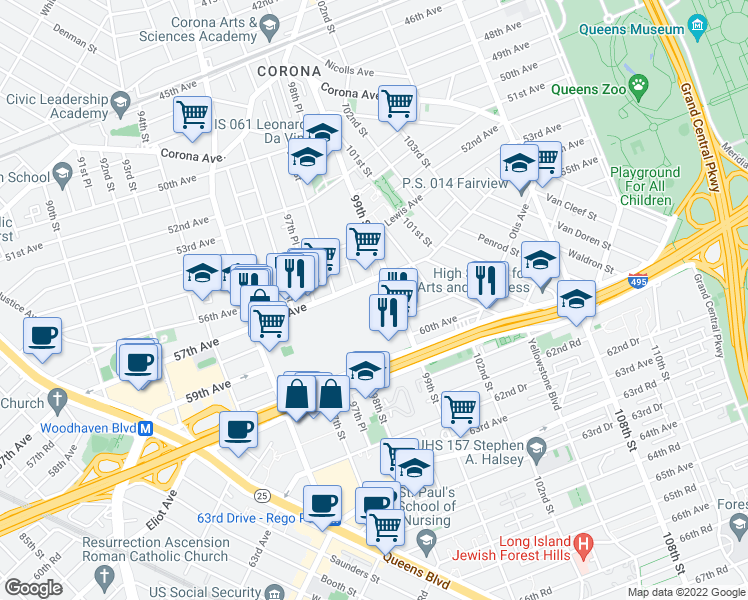 map of restaurants, bars, coffee shops, grocery stores, and more near 98-40 57th Avenue in Queens