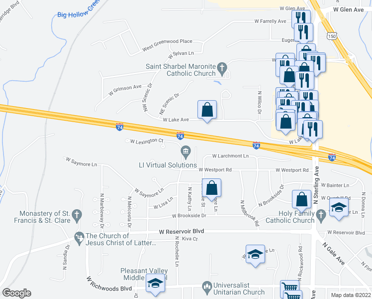map of restaurants, bars, coffee shops, grocery stores, and more near 4130 North Rochelle Lane in Peoria