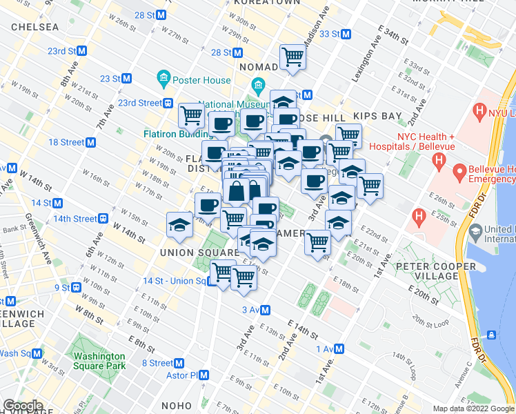 map of restaurants, bars, coffee shops, grocery stores, and more near 251 Park Avenue South in New York