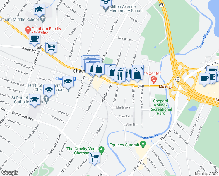 map of restaurants, bars, coffee shops, grocery stores, and more near 0 Chatham Street in Chatham