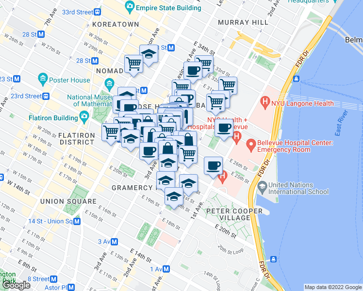 map of restaurants, bars, coffee shops, grocery stores, and more near East 25th Street in New York