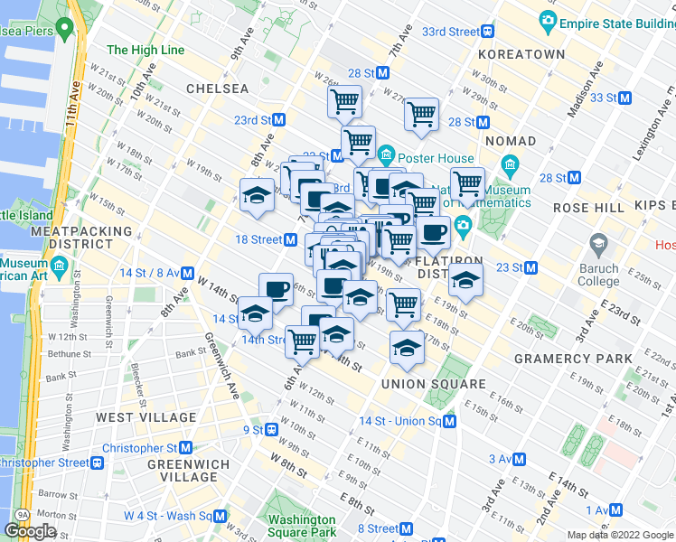 map of restaurants, bars, coffee shops, grocery stores, and more near 615 6th Avenue in New York
