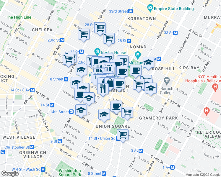map of restaurants, bars, coffee shops, grocery stores, and more near 15 West 20th Street in New York
