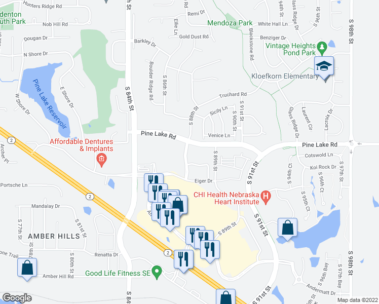map of restaurants, bars, coffee shops, grocery stores, and more near 7100 South 88th Street in Lincoln