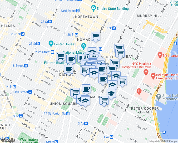 map of restaurants, bars, coffee shops, grocery stores, and more near 99 E 23rd St in New York