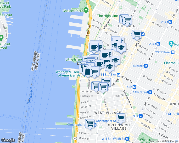 map of restaurants, bars, coffee shops, grocery stores, and more near Little West 12th Street in New York