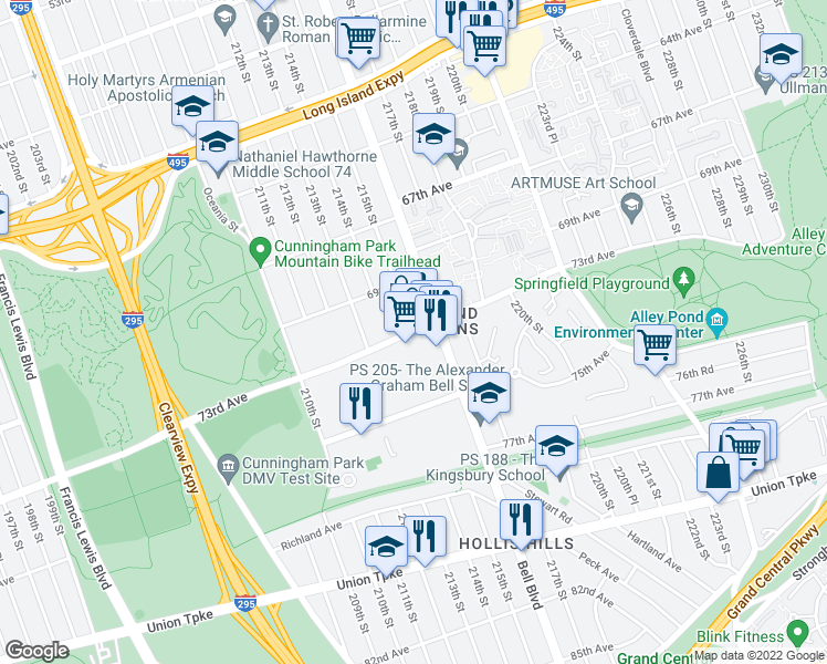 map of restaurants, bars, coffee shops, grocery stores, and more near 73rd Avenue in Queens