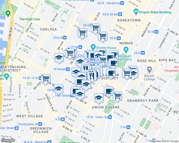 map of restaurants, bars, coffee shops, grocery stores, and more near 35 West 19th Street in New York