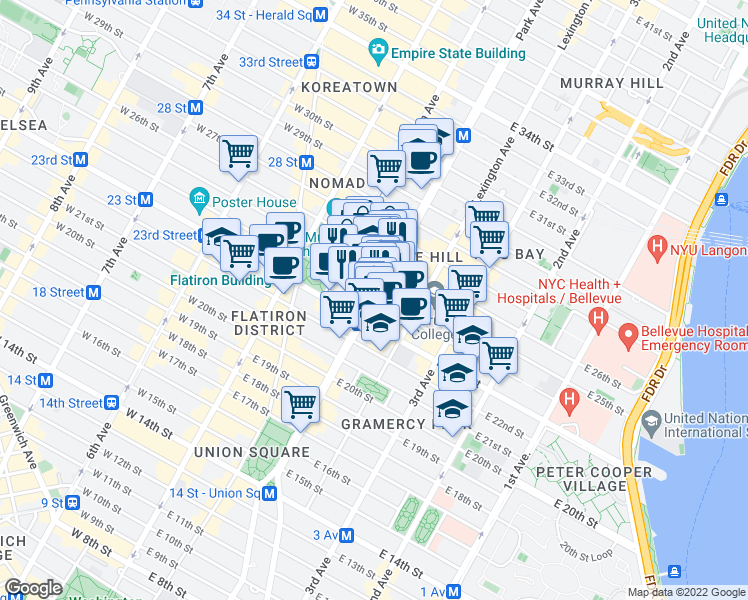 map of restaurants, bars, coffee shops, grocery stores, and more near Park Ave S & E 24th St in New York