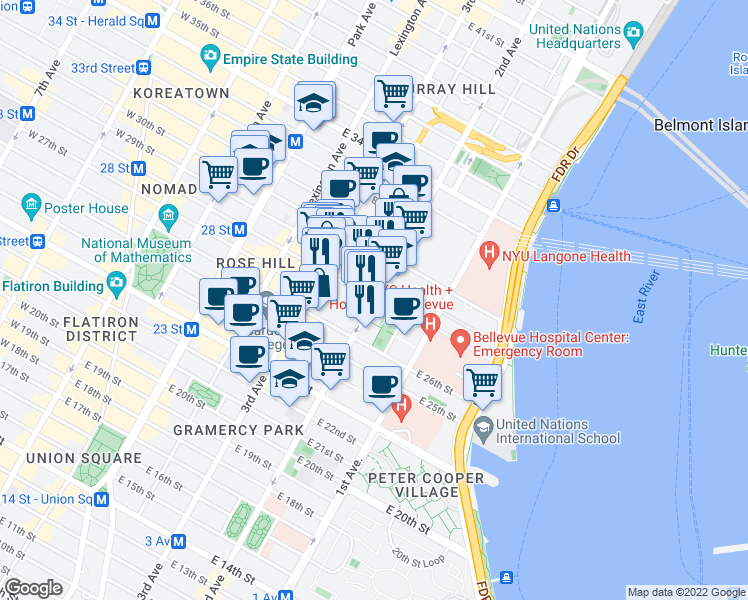 map of restaurants, bars, coffee shops, grocery stores, and more near 515 2nd Avenue in New York