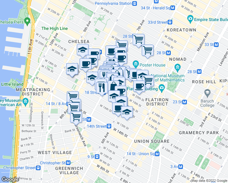 map of restaurants, bars, coffee shops, grocery stores, and more near 156 West 20th Street in New York