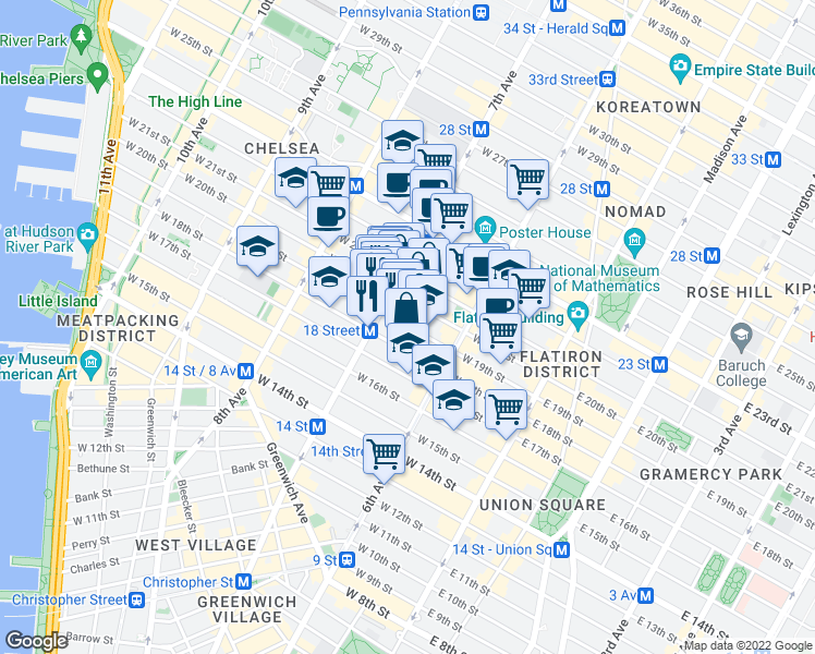 map of restaurants, bars, coffee shops, grocery stores, and more near 151 West 19th Street in New York