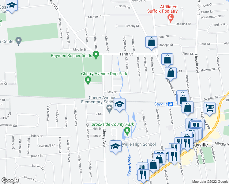 map of restaurants, bars, coffee shops, grocery stores, and more near 82 Easy Street in West Sayville