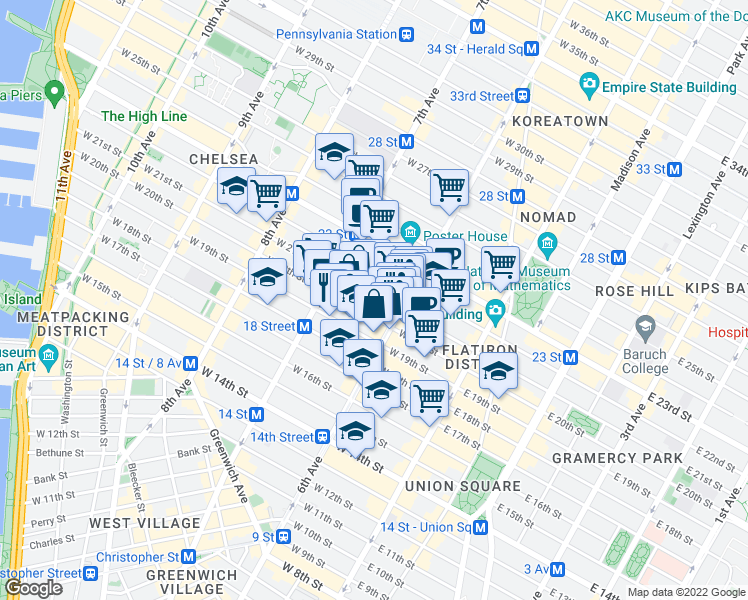 map of restaurants, bars, coffee shops, grocery stores, and more near 121 West 20th Street in New York