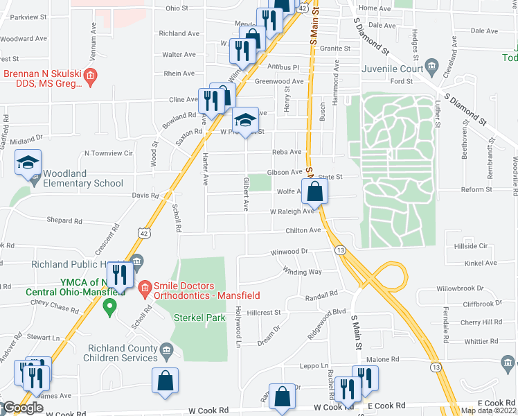 map of restaurants, bars, coffee shops, grocery stores, and more near 102 West Raleigh Avenue in Mansfield