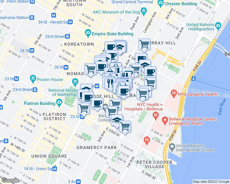 map of restaurants, bars, coffee shops, grocery stores, and more near 137 East 28th Street in New York