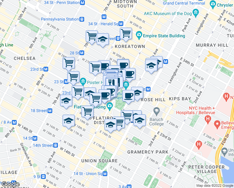map of restaurants, bars, coffee shops, grocery stores, and more near 5th Avenue in New York