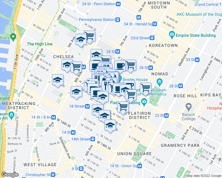 map of restaurants, bars, coffee shops, grocery stores, and more near 133 West 22nd Street in New York