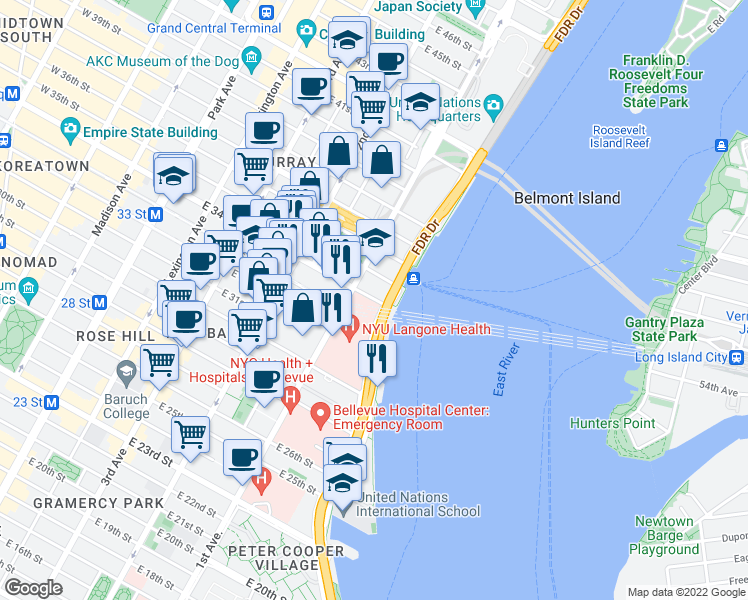 map of restaurants, bars, coffee shops, grocery stores, and more near FDR Drive in New York