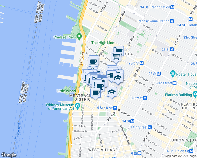 map of restaurants, bars, coffee shops, grocery stores, and more near 431 West 16th Street in New York