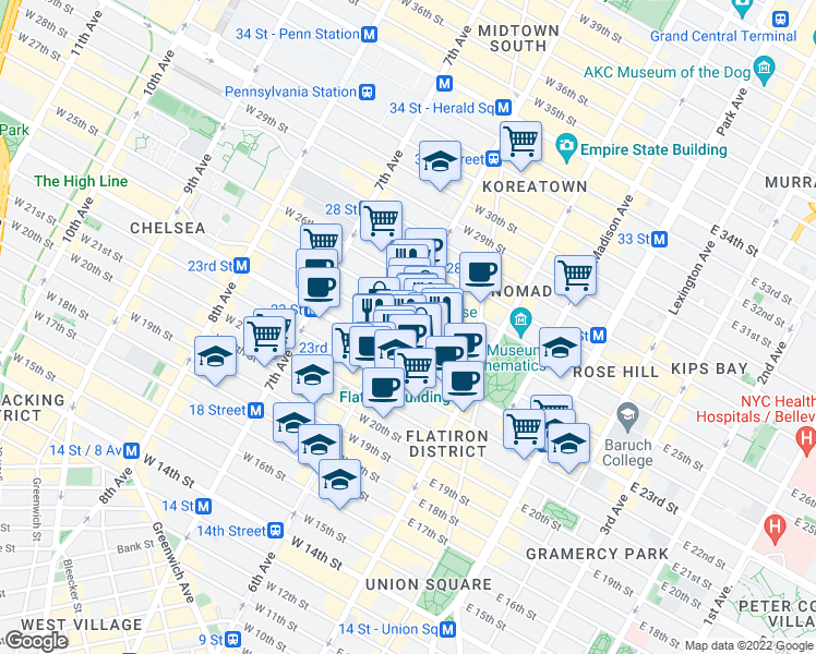 map of restaurants, bars, coffee shops, grocery stores, and more near 716 6th Avenue in New York