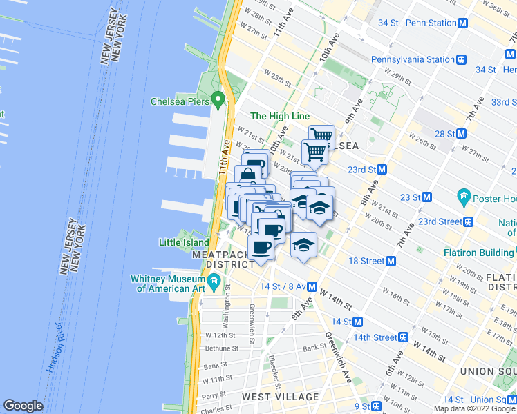 map of restaurants, bars, coffee shops, grocery stores, and more near 450 West 17th Street in New York