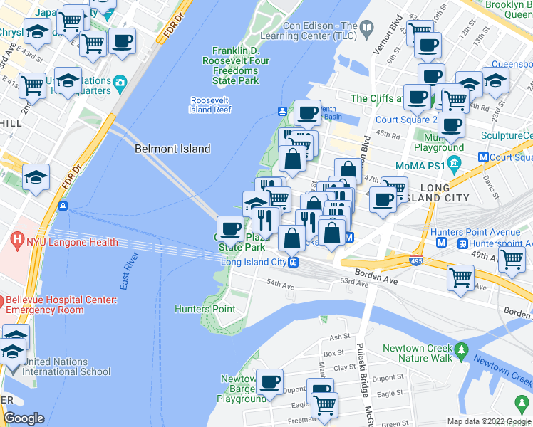 map of restaurants, bars, coffee shops, grocery stores, and more near 2-01 50th Avenue in Queens