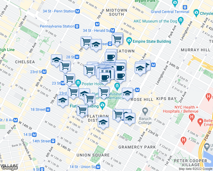 map of restaurants, bars, coffee shops, grocery stores, and more near Broadway & West 26th Street in New York