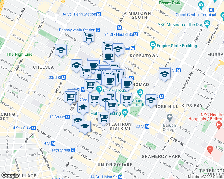 map of restaurants, bars, coffee shops, grocery stores, and more near 101 West 25th Street in New York