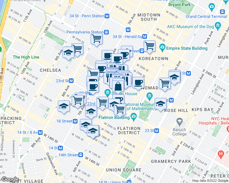 map of restaurants, bars, coffee shops, grocery stores, and more near 450 West 33rd Street in New York