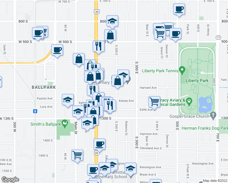 map of restaurants, bars, coffee shops, grocery stores, and more near 177 Hampton Avenue South in Salt Lake City