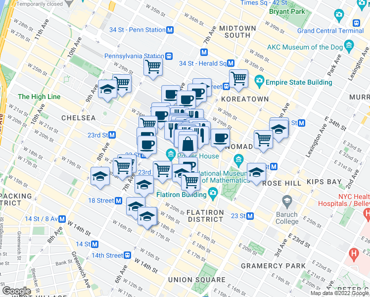 map of restaurants, bars, coffee shops, grocery stores, and more near 761 Avenue of the Americas in New York
