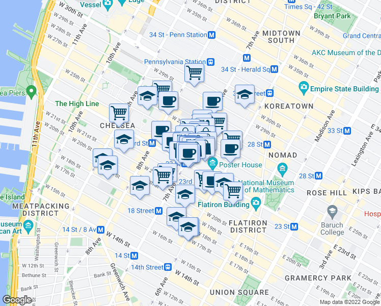 map of restaurants, bars, coffee shops, grocery stores, and more near 160 West 24th Street in New York