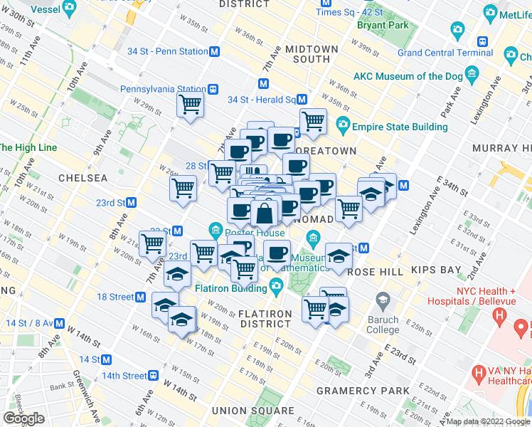 map of restaurants, bars, coffee shops, grocery stores, and more near 40 West 27th Street in New York