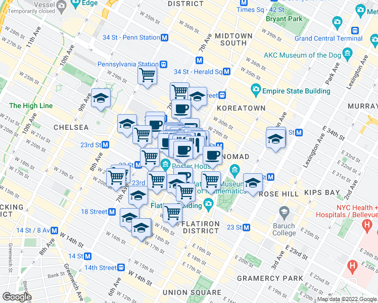 map of restaurants, bars, coffee shops, grocery stores, and more near 757 West 25th Street in New York